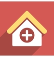 Hospital Flat Square Icon with Long Shadow vector image