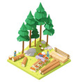 isometric portable sawmill in forest vector image