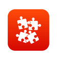 jigsaw puzzles icon digital red vector image vector image