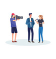 journalists take interview vector image