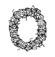 Letter O made from houses alphabet design vector image