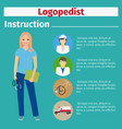 medical equipment instruction for logopedist vector image vector image
