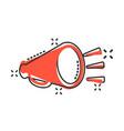 megaphone speaker icon in comic style bullhorn vector image