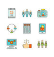 minimal lineart flat social networking iconset vector image vector image