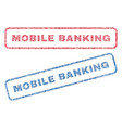 mobile banking textile stamps vector image