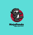 ninja panda kicking mascot cartoon logo vector image vector image