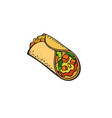pop art style burritos sticker vector image vector image