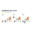 Rainbow leg lifts with resistance band girl