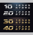 regular and italic set metal number typography vector image