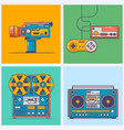 retro gadgets from 90s in flat line style vintage vector image vector image