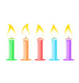 set colored candles for cake vector image