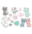 set cute caty cat stickers some with text vector image