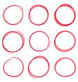 set red hand drawn scribble circles vector image vector image