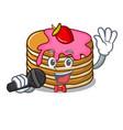 singing pancake with strawberry mascot cartoon vector image