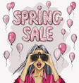 spring sale elegant glossy flying balloons vector image vector image