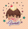 sweet and delicious cupcake birthday card vector image vector image