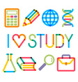 Trendy multiply education icons and phrase vector image
