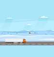 truck on the road winter rural landscape with vector image vector image