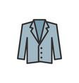tuxedo jacket coat flat color line icon vector image