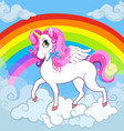 white unicorn with pink mane on sky with rainbow vector image