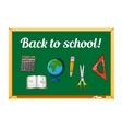 Blackboard and school supplies set vector image