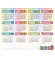 simple colorful calendar of 2018 year vector image