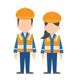 civil engineer construction workers characters vector image