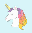 unicorn head sleeping cute in pastel colors with vector image