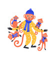 adorable hand drawn monkey family in funny costume vector image vector image