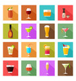 alcohol drink glasses icons vector image vector image