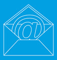 at sign mail in envelope icon outline style vector image vector image