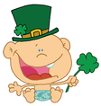 Baby St Patricks Day Boy In A Diaper And Hat vector image vector image