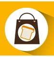 bag shopping food icon sliced bread vector image vector image