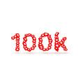 banner fly like social network 100k white vector image vector image