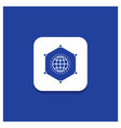blue round button for network global data vector image vector image