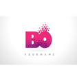 bo b o letter logo with pink purple color and vector image