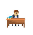 boy student sitting in the wood desk vector image