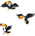 cartoon toucan collection set vector image vector image