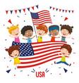 children holding usa flag vector image vector image
