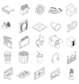 Cinema icons set isometric 3d style vector image