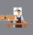 coffeehouse kitchen interior with smiling young