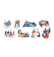 collection of friends spending time together vector image vector image