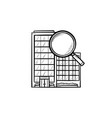 condominium with magnifying glass hand drawn vector image