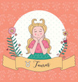 cute horoscope zodiac girl taurus vector image vector image