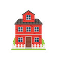 cute red brick house with white fence and green vector image vector image