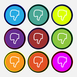 Dislike icon sign Nine multi colored round buttons vector image vector image