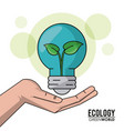 ecology green world hand holding bulb plant growth vector image vector image