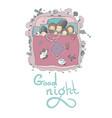 family sleeps in bed cartoon mom dad vector image vector image