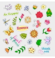 Fashion patch badges Flowers set Stickers pins vector image
