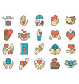 friends care icons love and friendship icon line vector image